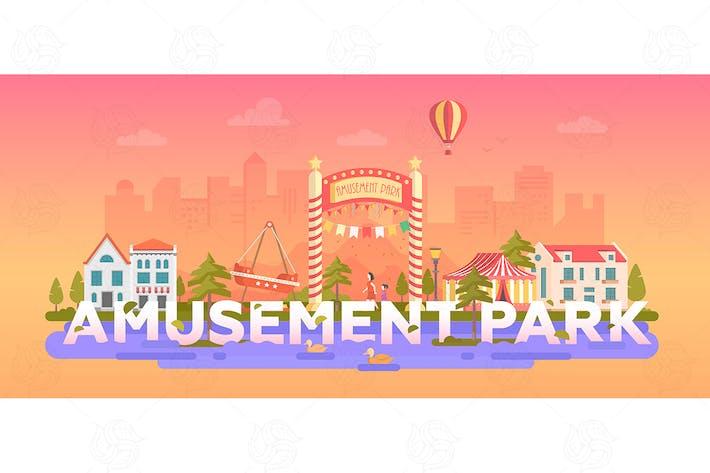 Thumbnail for Amusement Park - flat design style illustration