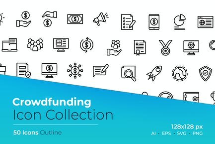 Crowdfunding Outline Icon