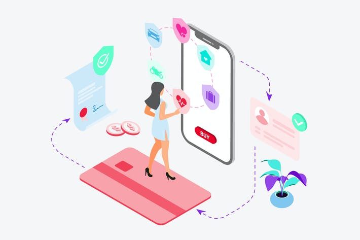 Thumbnail for Buying Insurance by Digital Wallet Isometric