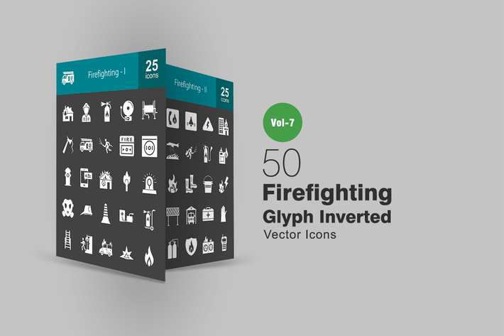 Thumbnail for 50 Firefighting Glyph Inverted Icons