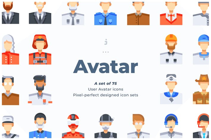 Thumbnail for 75 User Avatar Icons - Flat