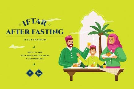 Iftar After Fasting Illustration