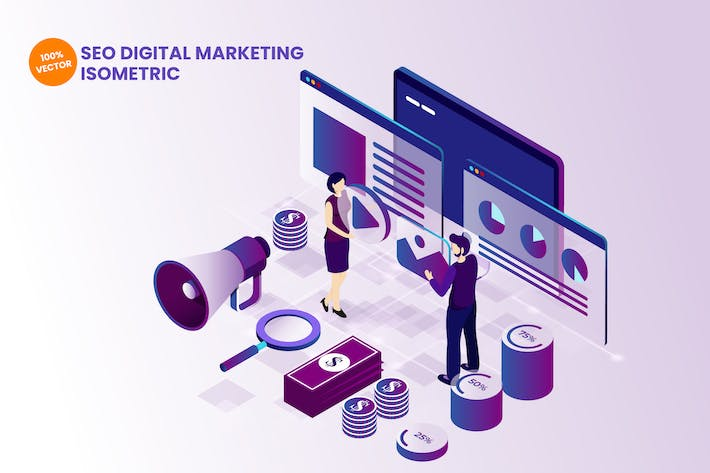 Thumbnail for Isometric SEO Digital Marketing Illustration