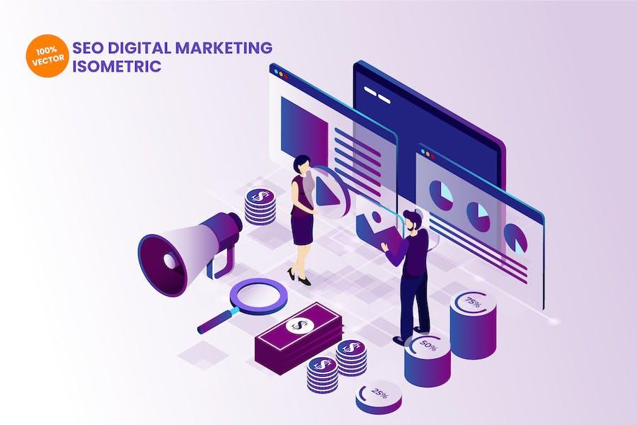 Isométrica SEO Digital Marketing Ilustración