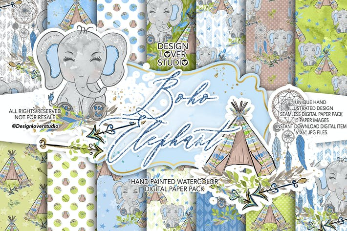 Thumbnail for Boho Elephant Blue Cute digital paper