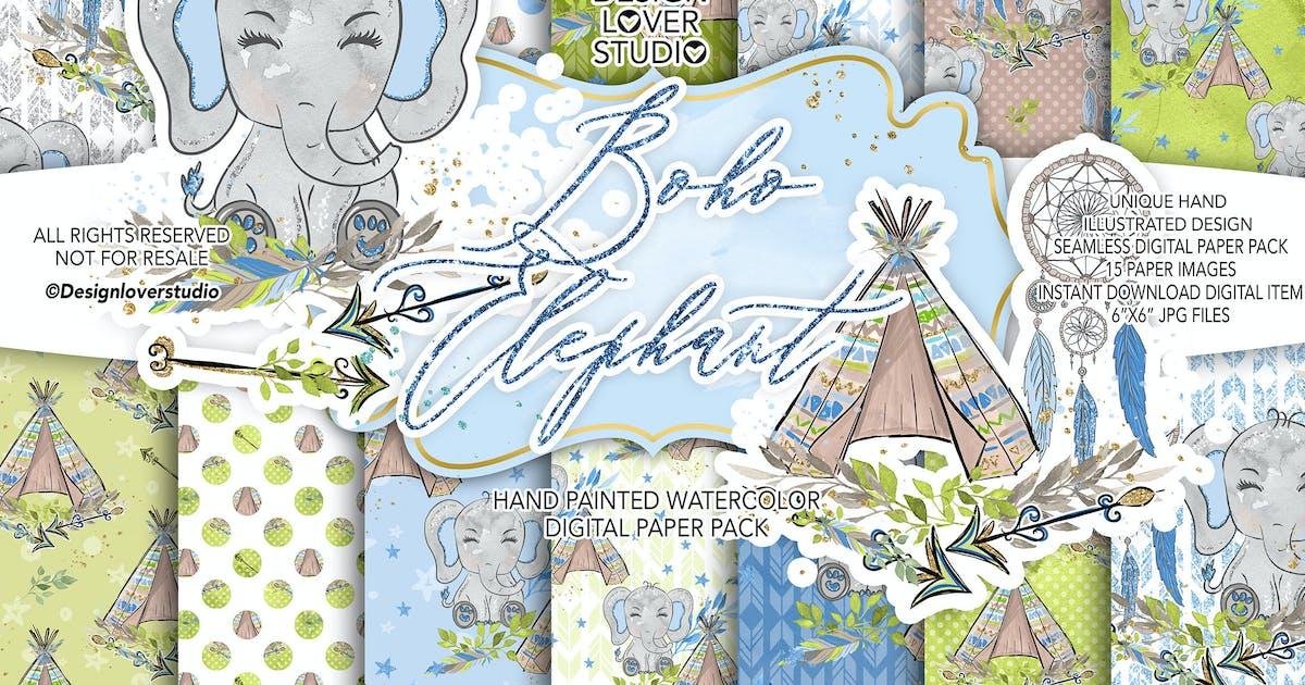 Download Boho Elephant Blue Cute digital paper by designloverstudio