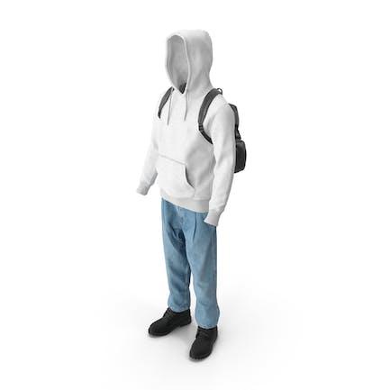 Мужские сапоги джинсы футболка с капюшоном Hat рюкзак черный белый