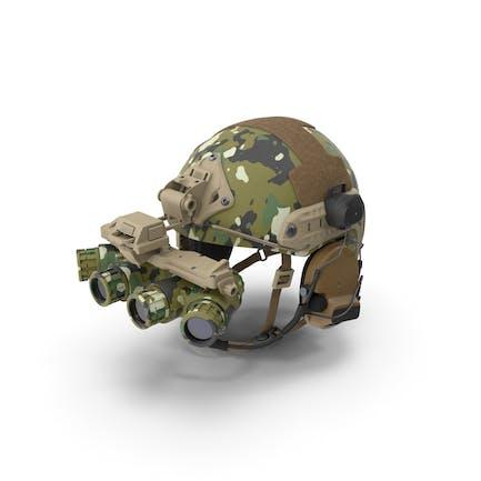 Taktischer Helm Digital Woodland Camo mit Fell