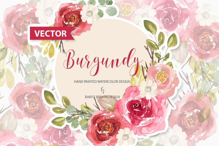 Thumbnail for Burgundy floral design VECTOR