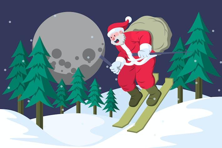 Thumbnail for Santa Claus is Skiing - Christmas Illustration
