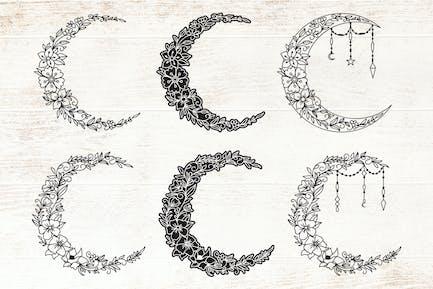 Floral Crescent Moon - Decorative Moon Set