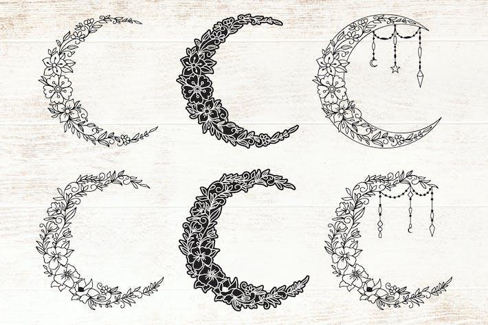 Blumensichelmond - Deko Mond Set