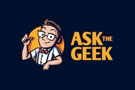Cartoon Geek Character Mascot Logo