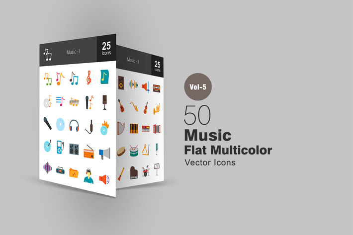 Thumbnail for 50 Music Flat Multicolor Icons