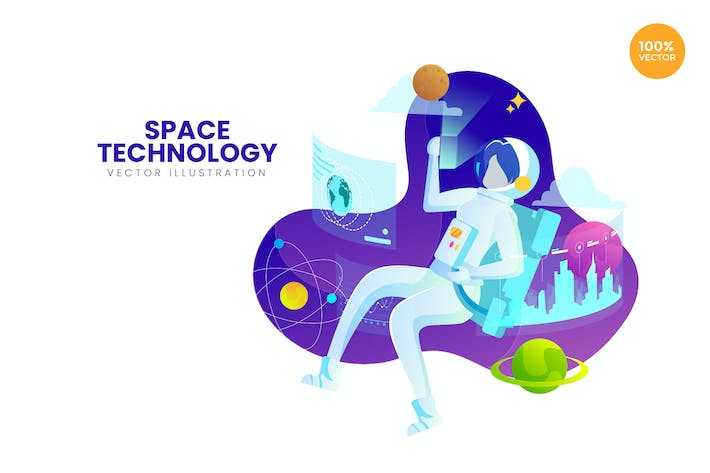 Thumbnail for Space Technology Vector Illustration Concept