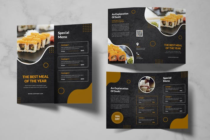 Thumbnail for Sushi Food Menu Trifold Brochure