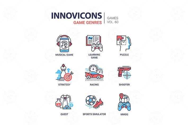 Thumbnail for Game genres - line design icons set