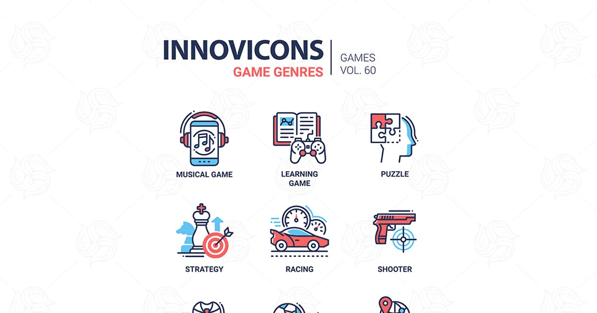 Download Game genres - line design icons set by BoykoPictures