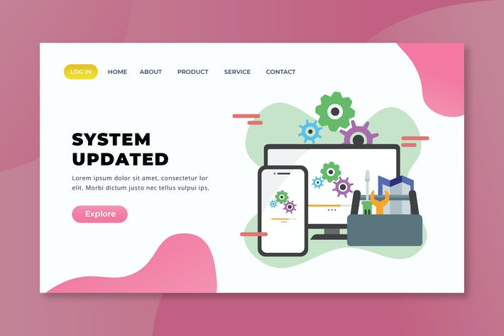 Thumbnail for System Updated - XD PSD AI Vector Landing Page
