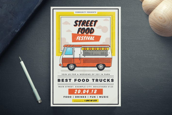 Street Food Festival Flyer Template By EightonesixStudios On Envato - Food truck flyer template