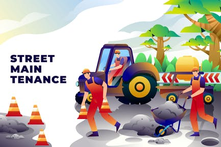 Straßenpflege - Vektor-Illustration