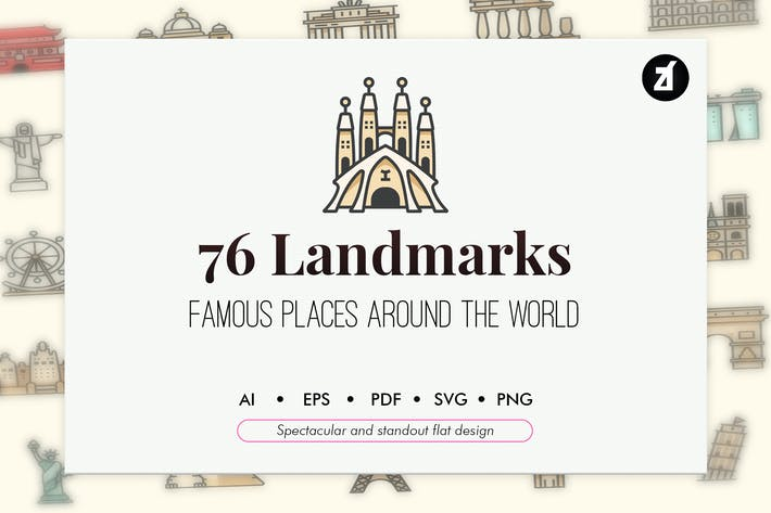 Thumbnail for 76 Famous landmarks elements in line color design