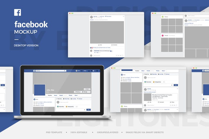 Thumbnail for Facebook Desktop Mock-Up Template
