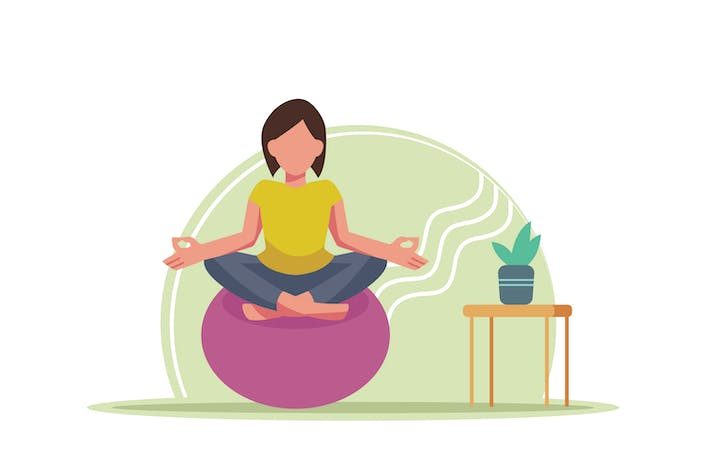 Thumbnail for Meditation Flat Illustration
