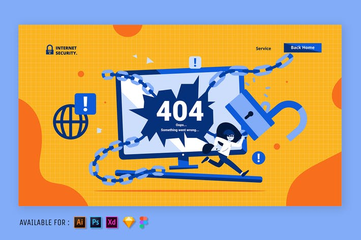 Thumbnail for 404 Page Error - Web Illustration
