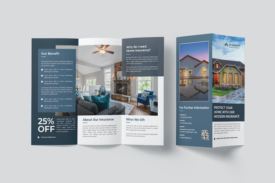 Minimal Modern Home Insurance Trifold Brochure