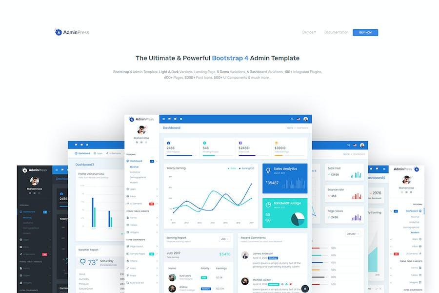 Admin Press - The Ultimate Bootstrap 4 Dashboard