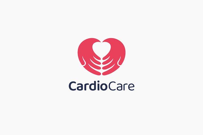 Cardio Care Heart Caring Love Hand Logo