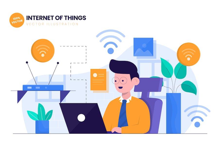 Internet of Things (IoT) Flat Vector Illustration