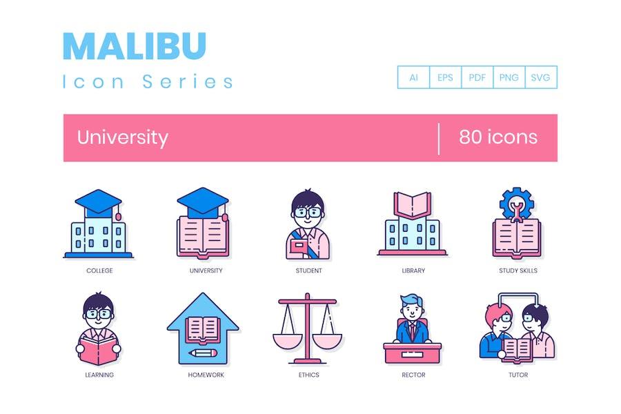 80 Universitäts-Symbole - Malibu-Serie