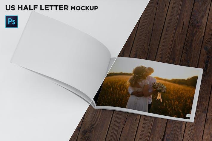 Thumbnail for US Half Letter Brochure Mockup Folded Page