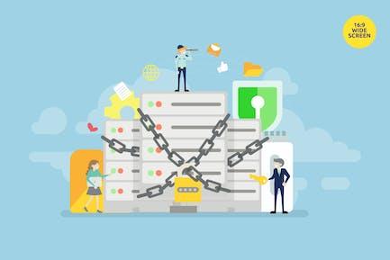 Vektor konzept für Rechenzentren und Server Protection