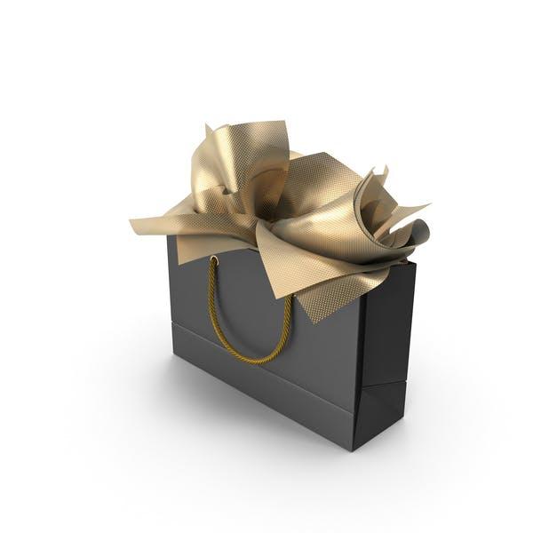 Черная сумка для покупок с золотой бумагой