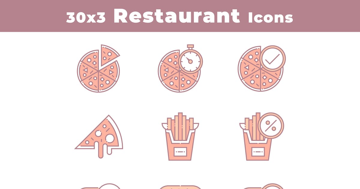 Download 30 Restaurant and Food Icons by 3ab2ou