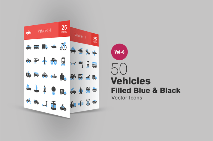Thumbnail for 50 Vehicles Blue & Black Icons