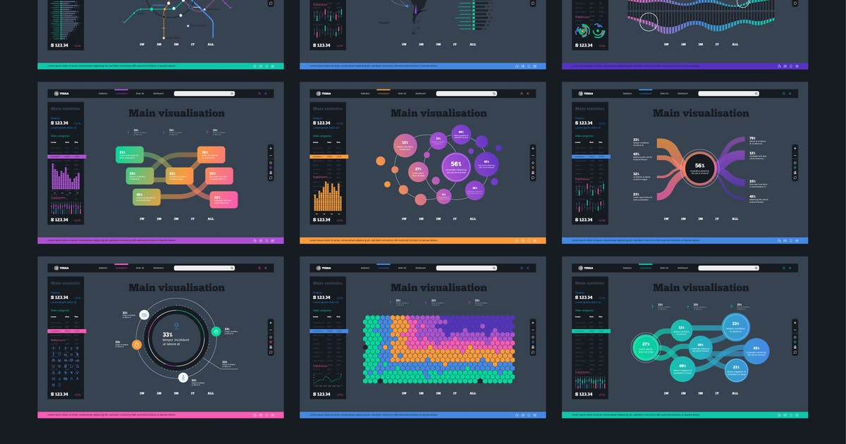 Download Vector UI Kit for infographics Charts by fet