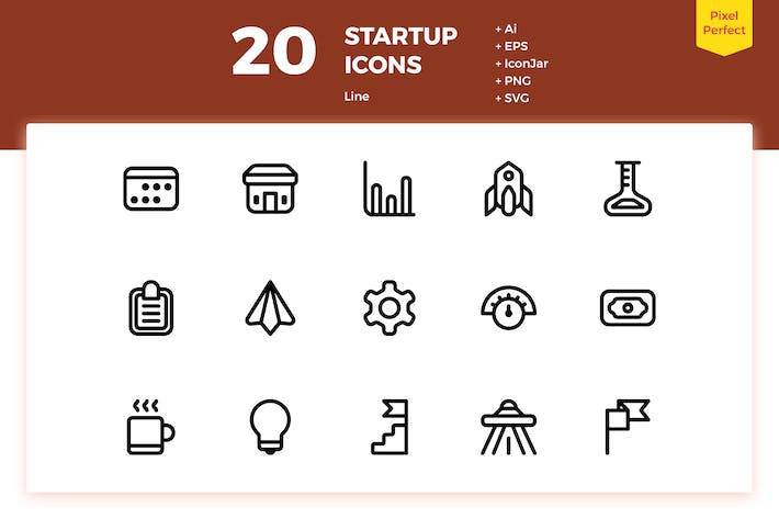 Thumbnail for 20 Startup Icons (Line)