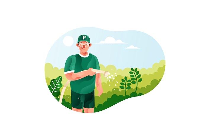 Thumbnail for Hombre regar las plantas con una manguera