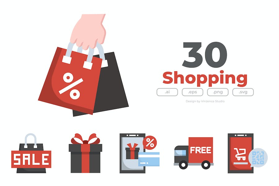 30 Sale and Shopping Icons - FLAT