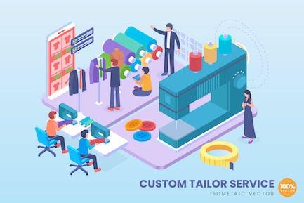 Isometric Custom Tailor Service Concept