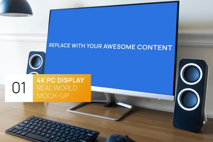 Thumbnail for 4K PC Display on Desk Real World Photo Mock-up