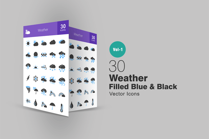Thumbnail for 30 Weather Blue & Black Icons