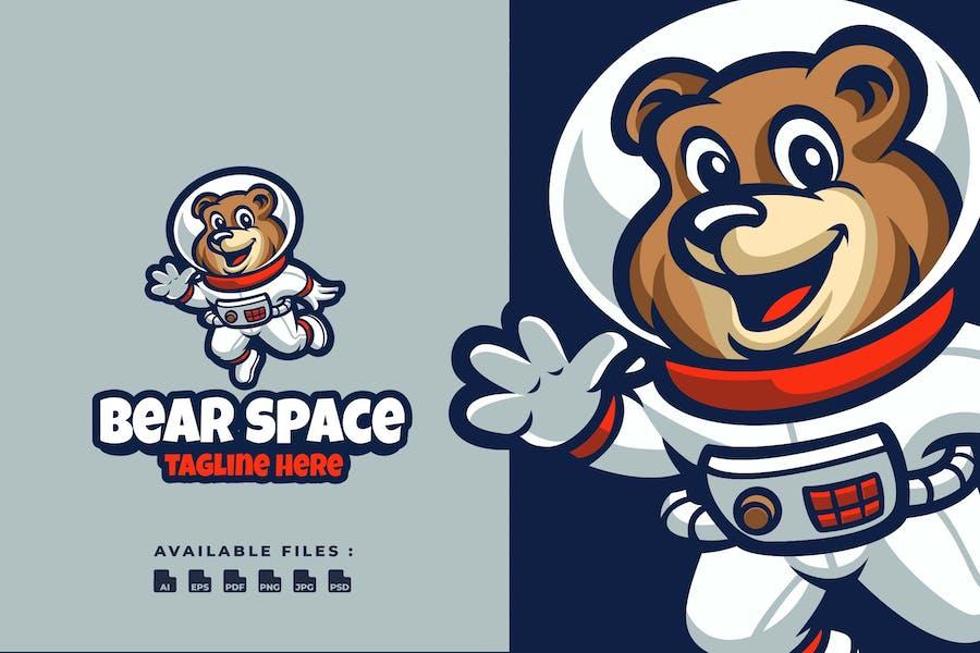 Bear Space Cartoon Logo
