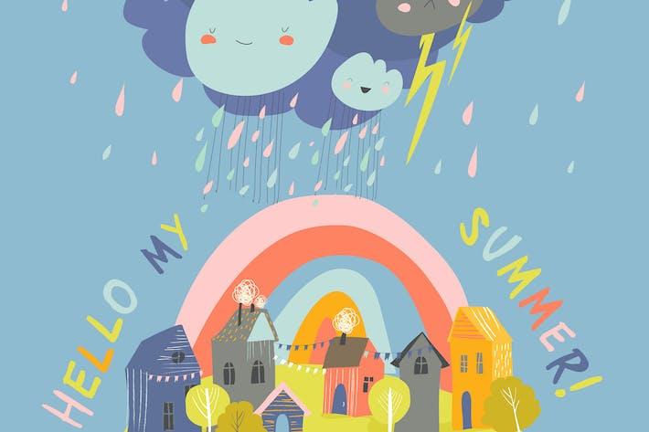 Thumbnail for Little cartoon town in summer storm. Hello summer.