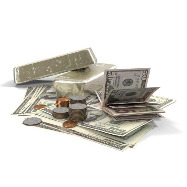 Серебряный бар и деньги