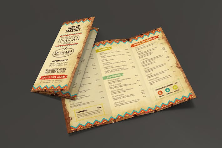Cover Image For Trifold Mexican Food Menu